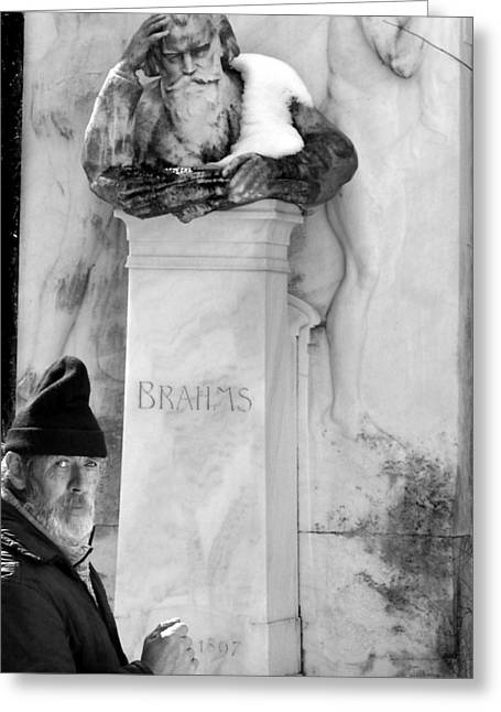Brahms Greeting Cards - Man at the Grave of Johannes Brahms Greeting Card by Todd Fox
