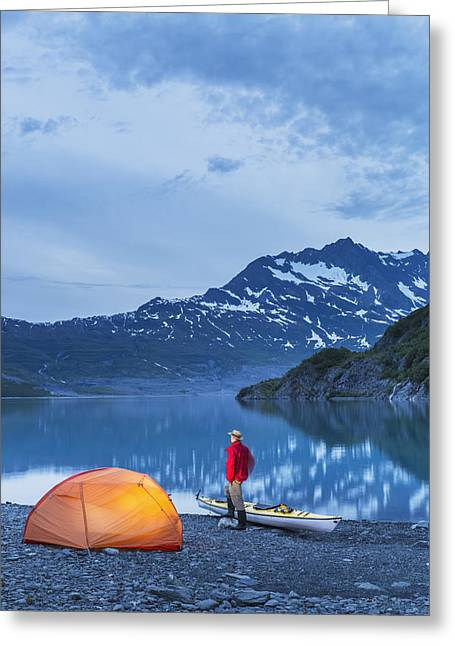 Southcentral Alaska Greeting Cards - Man Camping With A Tent And Kayak Greeting Card by Kevin Smith