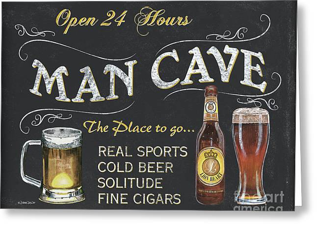 Man Cave Chalkboard Sign Greeting Card by Debbie DeWitt
