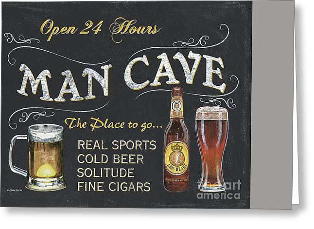 Label Greeting Cards - Man Cave Chalkboard Sign Greeting Card by Debbie DeWitt