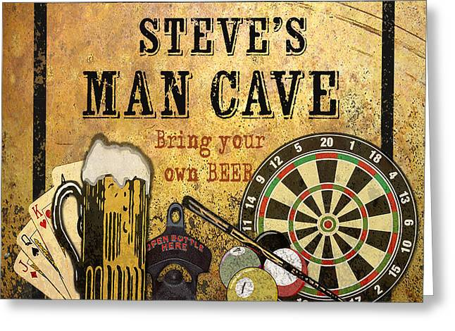 Board Game Paintings Greeting Cards - Man Cave-Personalized-JP2740 Greeting Card by Jean Plout