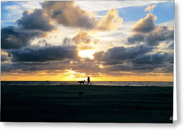 Beach Photography Greeting Cards - Man Dog and Sunrise Greeting Card by Robert Banach