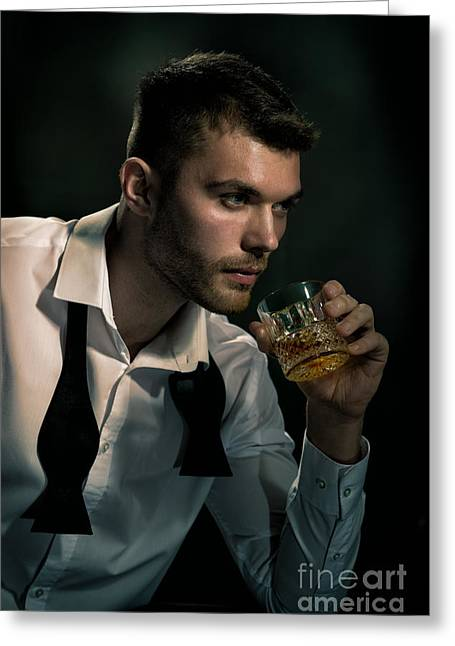 Man Drinking Whiskey Greeting Card by Amanda And Christopher Elwell