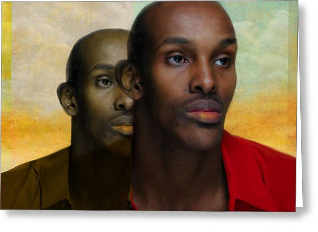 Protrait Greeting Cards - Man emerges Greeting Card by Jeff Burgess