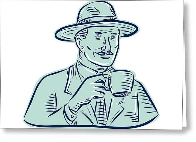 Coffee Drinking Greeting Cards - Man Fedora Hat Drinking Coffee Etching Greeting Card by Aloysius Patrimonio