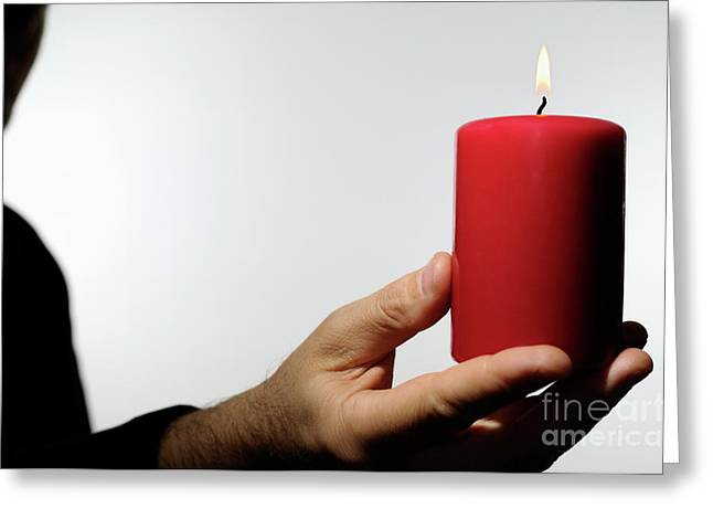 One Mature Man Only Greeting Cards - Man holding burning candle Greeting Card by Sami Sarkis