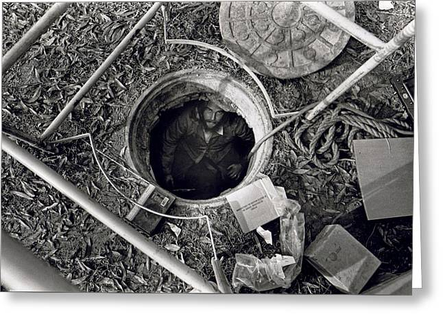 Underground Utilities Greeting Cards - Man in a Hole Greeting Card by Matt Plyler