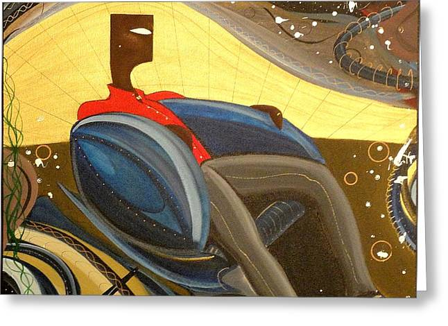 Man In Chair 2 Greeting Card by John Lyes