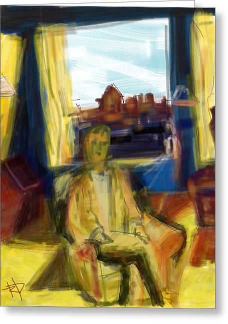 Pensive Digital Greeting Cards - Man in Chair Greeting Card by Russell Pierce