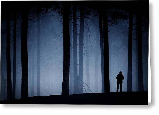 Man Greeting Cards - Man In Forest Greeting Card by Urban Rundblom
