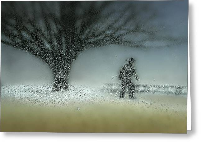 Snowed Trees Greeting Cards - Man In Nature - Winter Greeting Card by Shenshen Dou