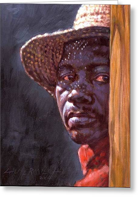 Black Man Paintings Greeting Cards - Man In Straw Hat Greeting Card by John Lautermilch