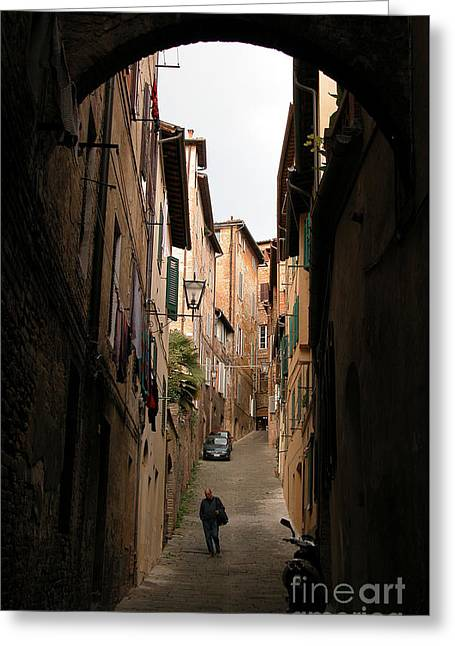 Man In Street-siena Greeting Card by Jim Wright