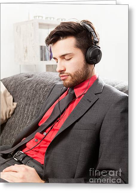 Human Greeting Cards - Man in suit listening to music with headphones Greeting Card by Wolfgang Steiner