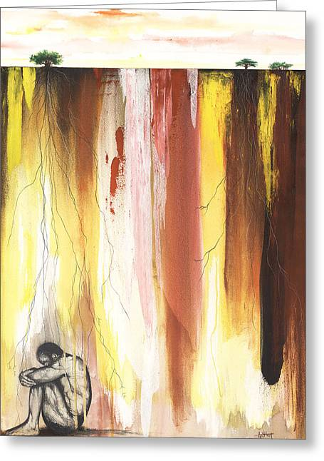 African-american Mixed Media Greeting Cards - Man in the Corner  Greeting Card by Anthony Burks Sr