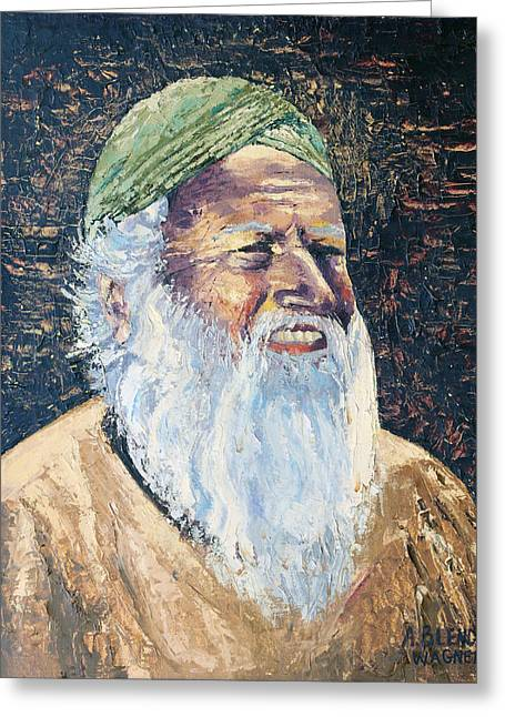 Man In The Green Turban Greeting Card by Arline Wagner