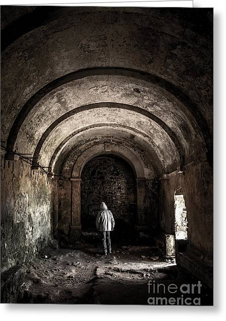 Man Inside A Ruined Chapel Greeting Card by Carlos Caetano