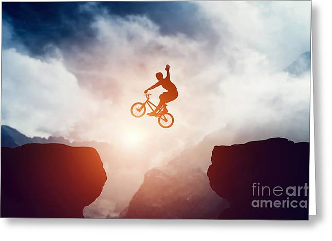 Freestyle Greeting Cards - Man jumping on bmx bike over precipice in mountains at sunset Greeting Card by Michal Bednarek