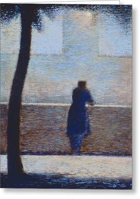 Parapet Greeting Cards - Man leaning on a parapet Greeting Card by Georges Pierre Seurat