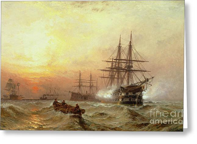 Cannon Greeting Cards - Man-o-War firing a salute at sunset Greeting Card by Claude T Stanfield Moore