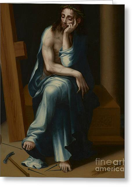 Man Of Sorrows Greeting Card by Luis de Morales