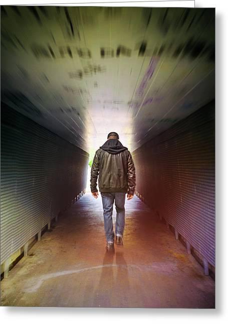 Man On A Tunnel Greeting Card by Carlos Caetano