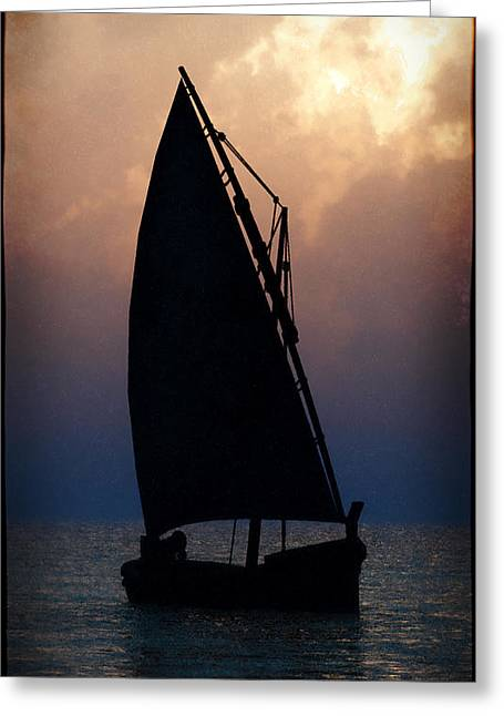 Sunset Jewelry Greeting Cards - Man on Sailboat... Greeting Card by Tim Fillingim