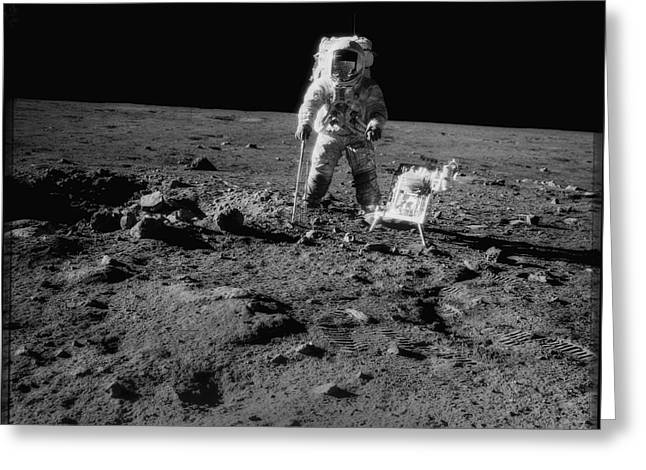 Neil Armstrong Greeting Cards - Man on the Moon Greeting Card by Jon Neidert
