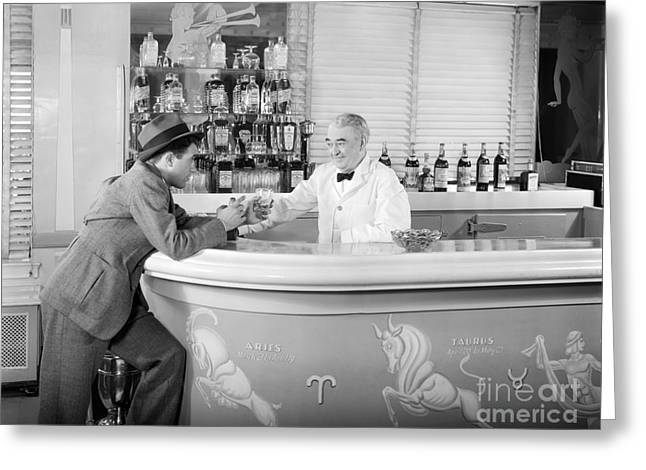Closing Time Greeting Cards - Man Ordering Another Drink, C. 1940s Greeting Card by H. Armstrong Roberts/ClassicStock