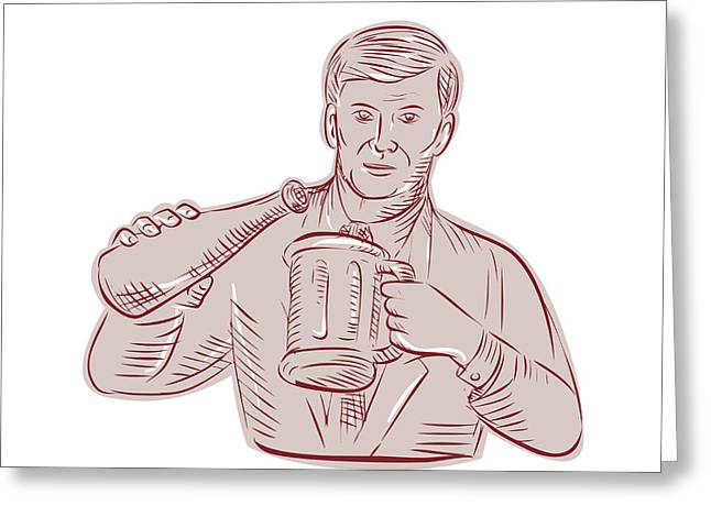 Pouring Digital Art Greeting Cards - Man Pouring Beer Mug Etching Greeting Card by Aloysius Patrimonio