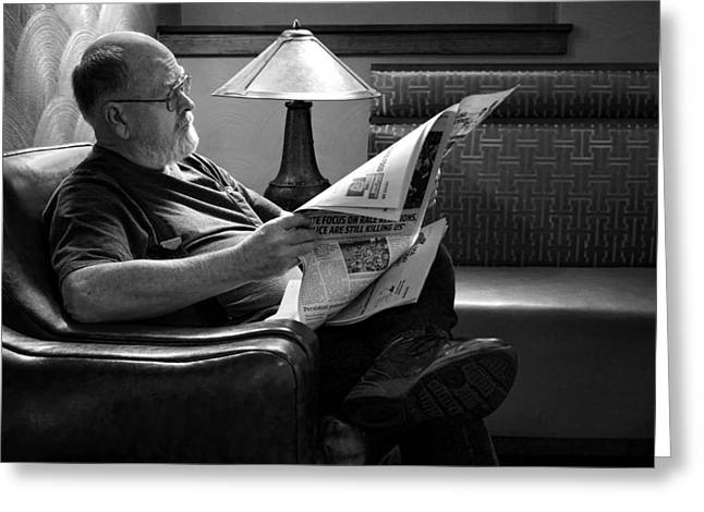 Prairie Style Greeting Cards - Man - Reading - Newspaper Greeting Card by Nikolyn McDonald