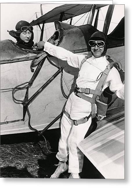 Mid Adult Women Greeting Cards - Man Ready To Skydive Greeting Card by Underwood Archives