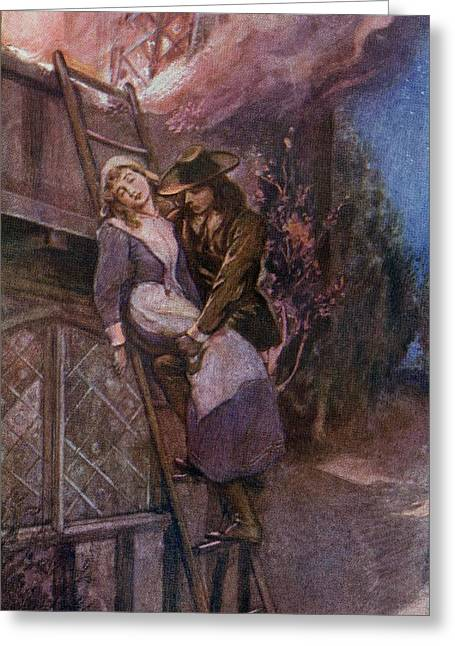 Burning Buildings Greeting Cards - Man Rescuing Woman From Fire In The Greeting Card by Ken Welsh