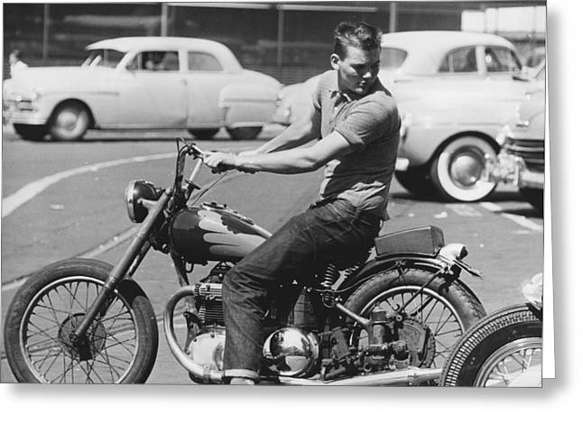 Man Riding A Motorcycle Greeting Card by Underwood Archives