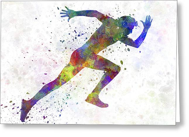 Recently Sold -  - Runner Greeting Cards - Man running sprinting jogging Greeting Card by Pablo Romero
