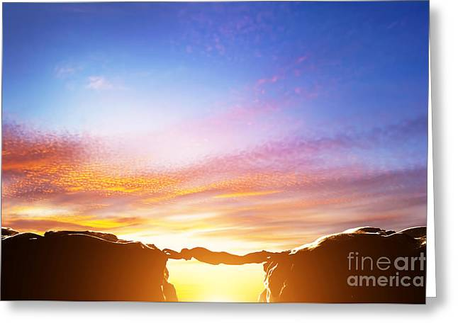 Man Serving As A Bridge Over Precipice Between Two Mountains Greeting Card by Michal Bednarek
