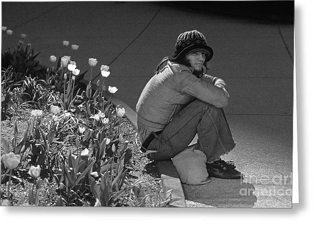 Man Sitting Along Curb  Greeting Card by Jim Corwin