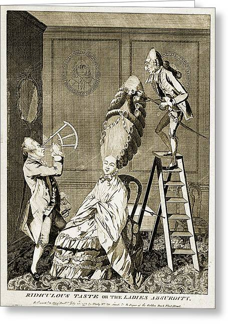 Absurdity Greeting Cards - Man Using Sextant On Womans Coiffure Greeting Card by Wellcome Images