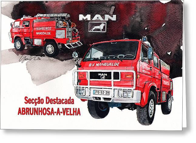 Fire Engine Greeting Cards - MAN-VW 4x4 Fire Engine Greeting Card by Yoshiharu Miyakawa
