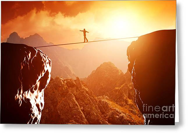 Bravery Greeting Cards - Man walking and balancing on rope over precipice in mountains at sunset Greeting Card by Michal Bednarek