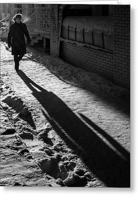 Morning Winter Walk And My Shadow Greeting Card by John Williams