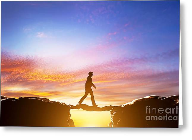 Man Walking Over Precipice Between Mountains And Another Man Being A Bridge Greeting Card by Michal Bednarek
