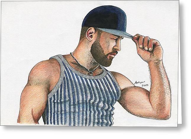 Baseball Shirt Greeting Cards - Man with baseball cap Greeting Card by Anti Quos