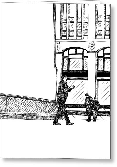 Berlin Germany Drawings Greeting Cards - Man With Camera Greeting Card by Karl Addison