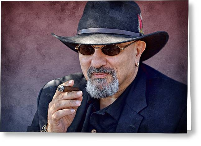 Stogie Greeting Cards - Man with Cigar Greeting Card by Nikolyn McDonald