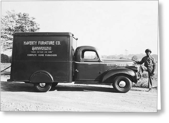 Negro Greeting Cards - Man With Delivery Truck Greeting Card by Underwood Archives