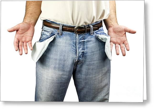 Bankrupt Greeting Cards - Man with empty pockets Greeting Card by Blink Images