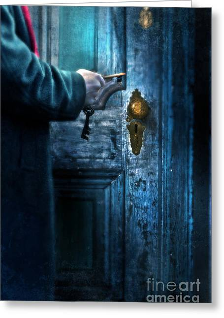 Knob Greeting Cards - Man with Keys at Door Greeting Card by Jill Battaglia