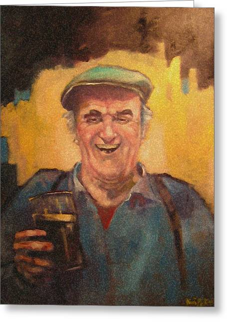 Men Drinking Greeting Cards - Man with pint. Greeting Card by Kevin McKrell