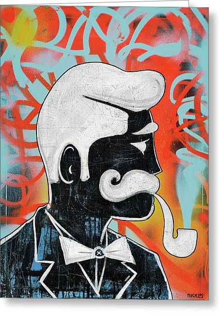 Man With Pipe Greeting Card by Nicklos Richards